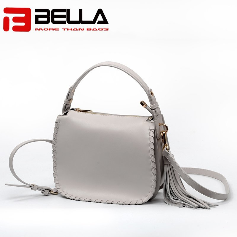 Ladies Leather Shoulder Bag with Metal Snap Hook & Tassel 6008B