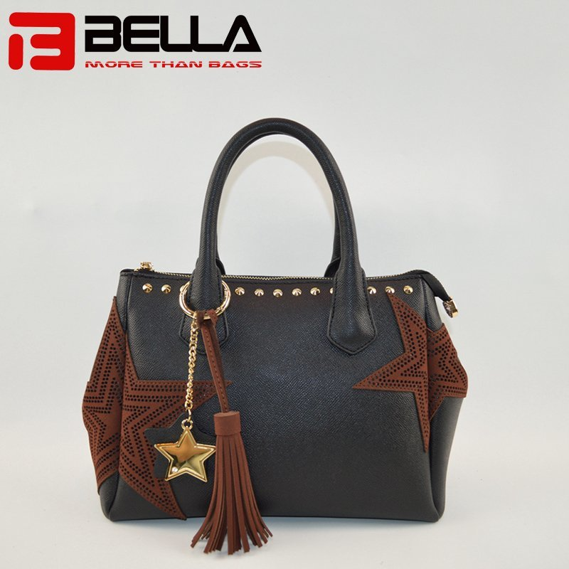Black PU Leather Shoulder Bag with Star Embroidery Patch 6009A