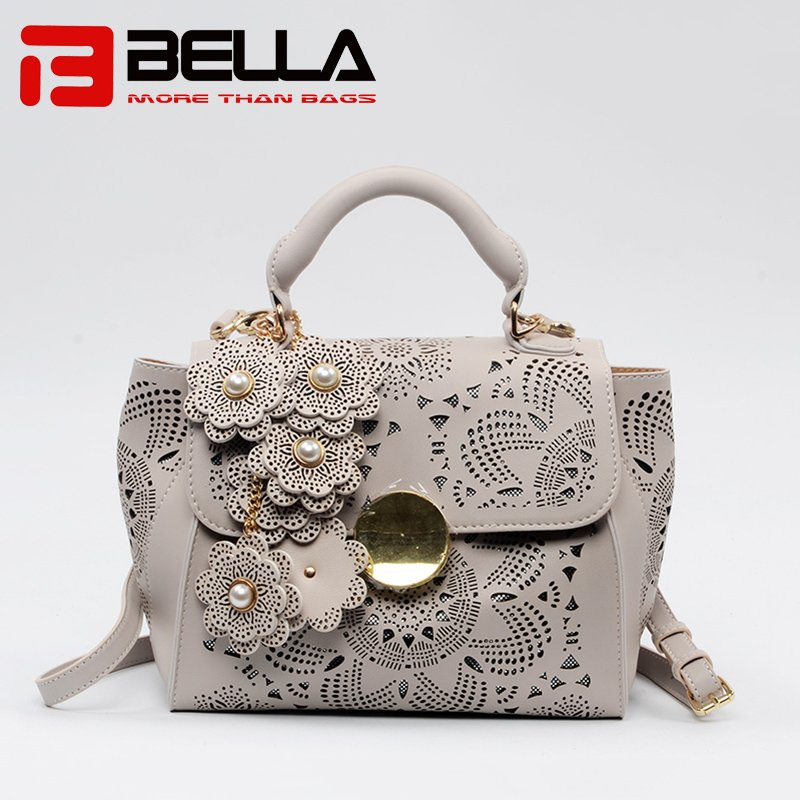 Lase Style PU Handbag with Detachble Flowers Decoration 6019C