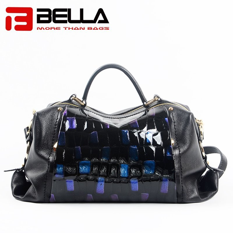 Flash Blue Ladies Leather Handbag with Metal Zipper 6035A