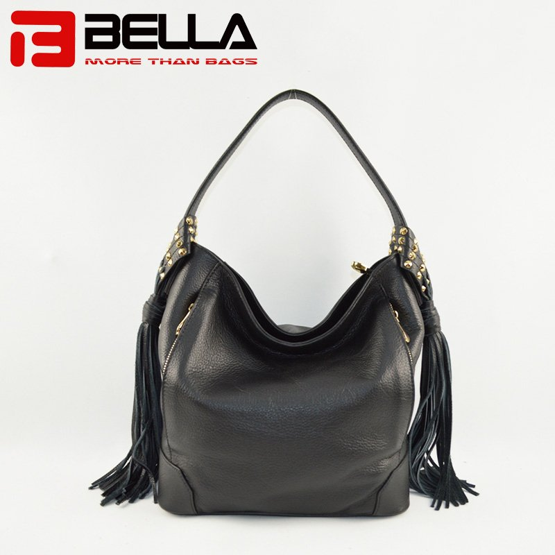 Black Leather Handbag with Big Tassels Decoration & Metal Snap Hook 6014A