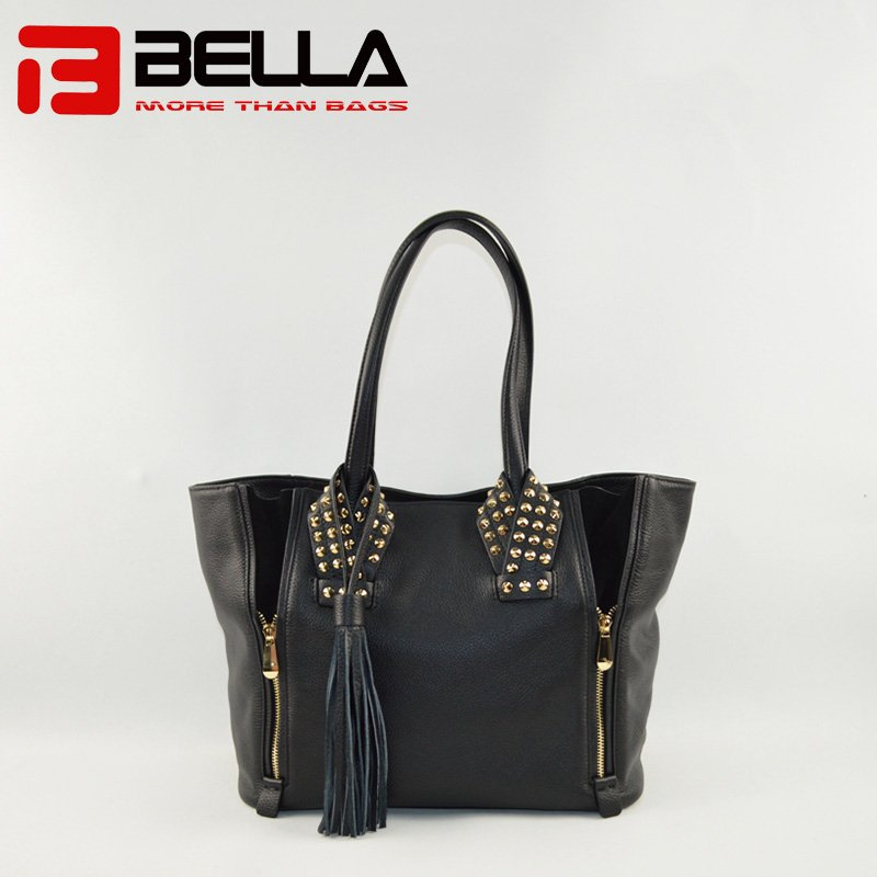 Leather Handbag with Fashion Metal Stuff Decoration 6014C