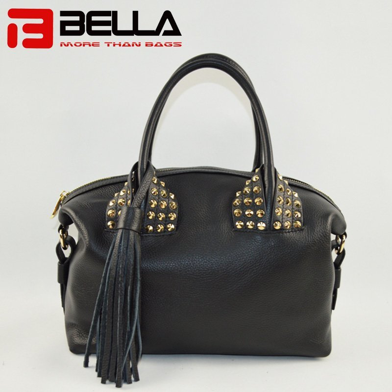 Black Leather Handbag with Big Tassels Decoration 6014B