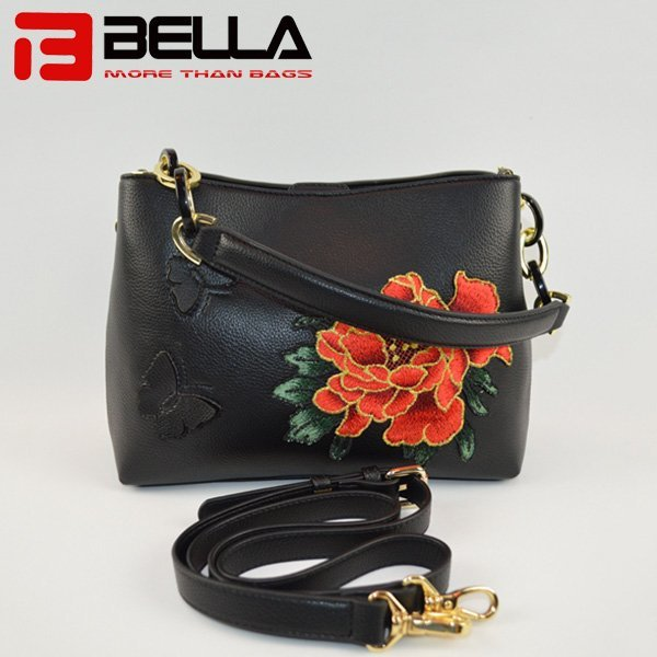 Latest PU Leather Crossbody Bag with Flower Embroidery Patch 9009