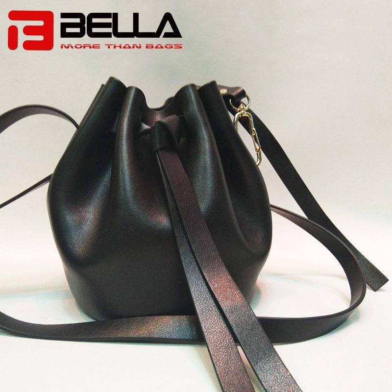 Black Women Leather Brossbody Bag with Bucket Shape NBA-008