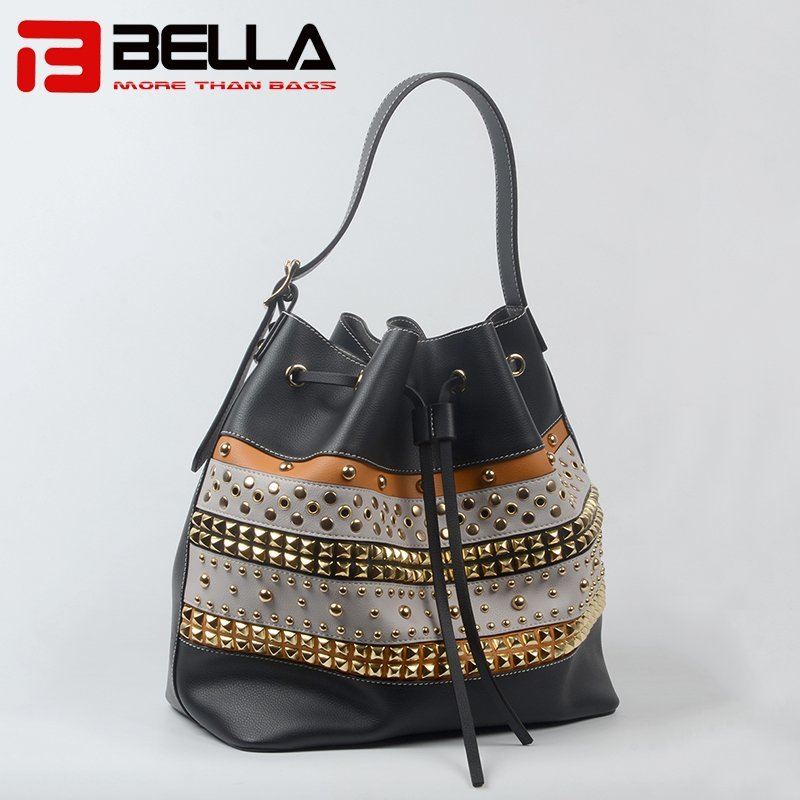 Retro Style Short Single Strap Black PU Leather Handbag 201712-4C