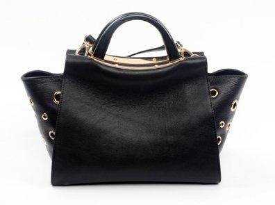hot sale genuine leather handbag with  special metal ring design decoration