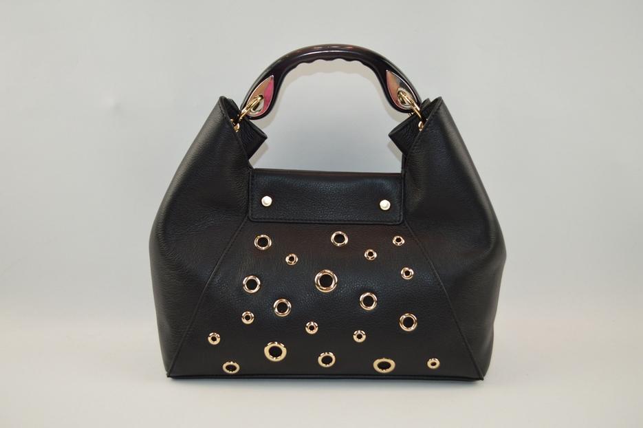 hot sale genuine leather handbag with good quality metal rings