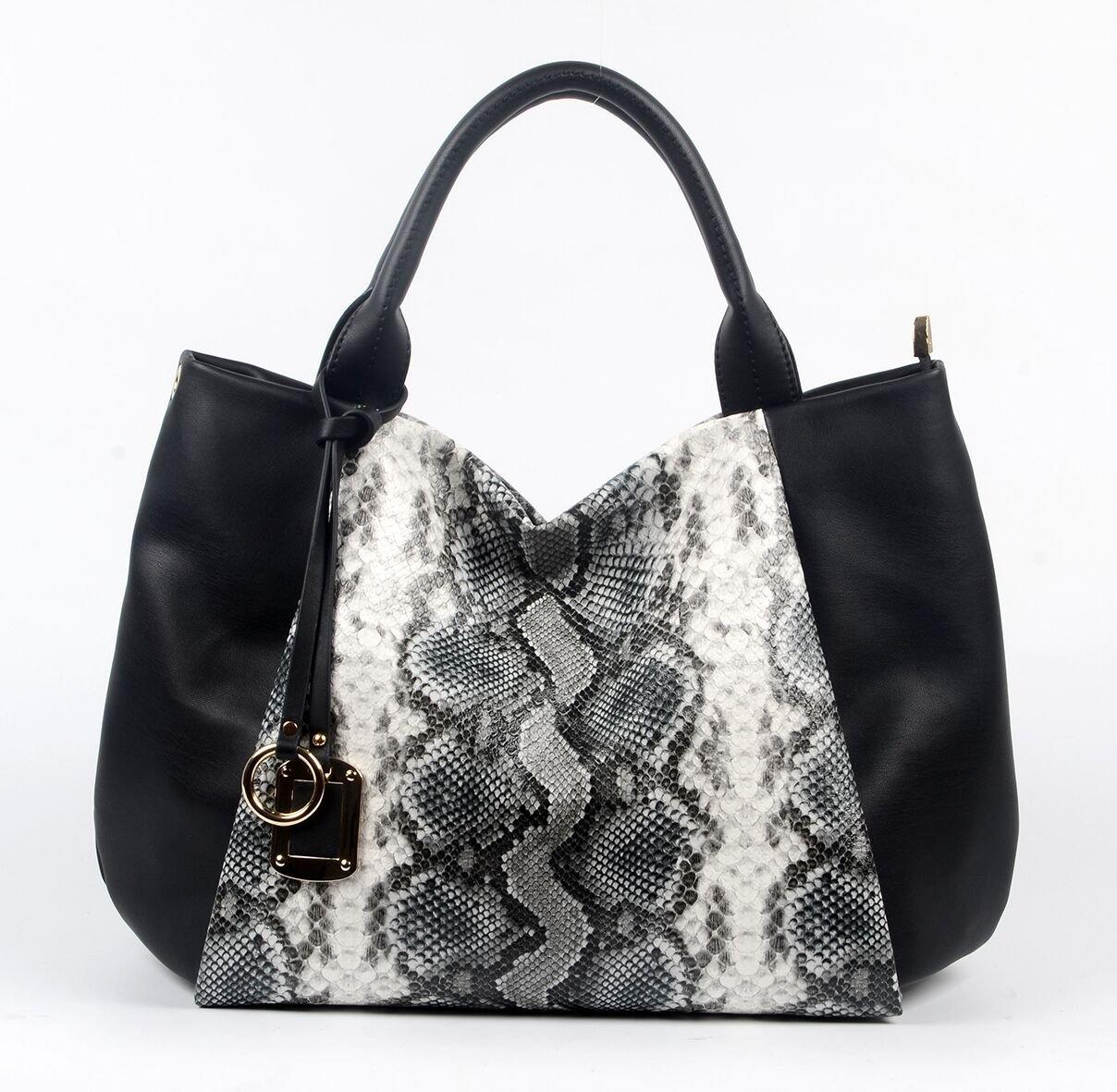 Black PU handbag with Snake pattern, Part decoration 6018C