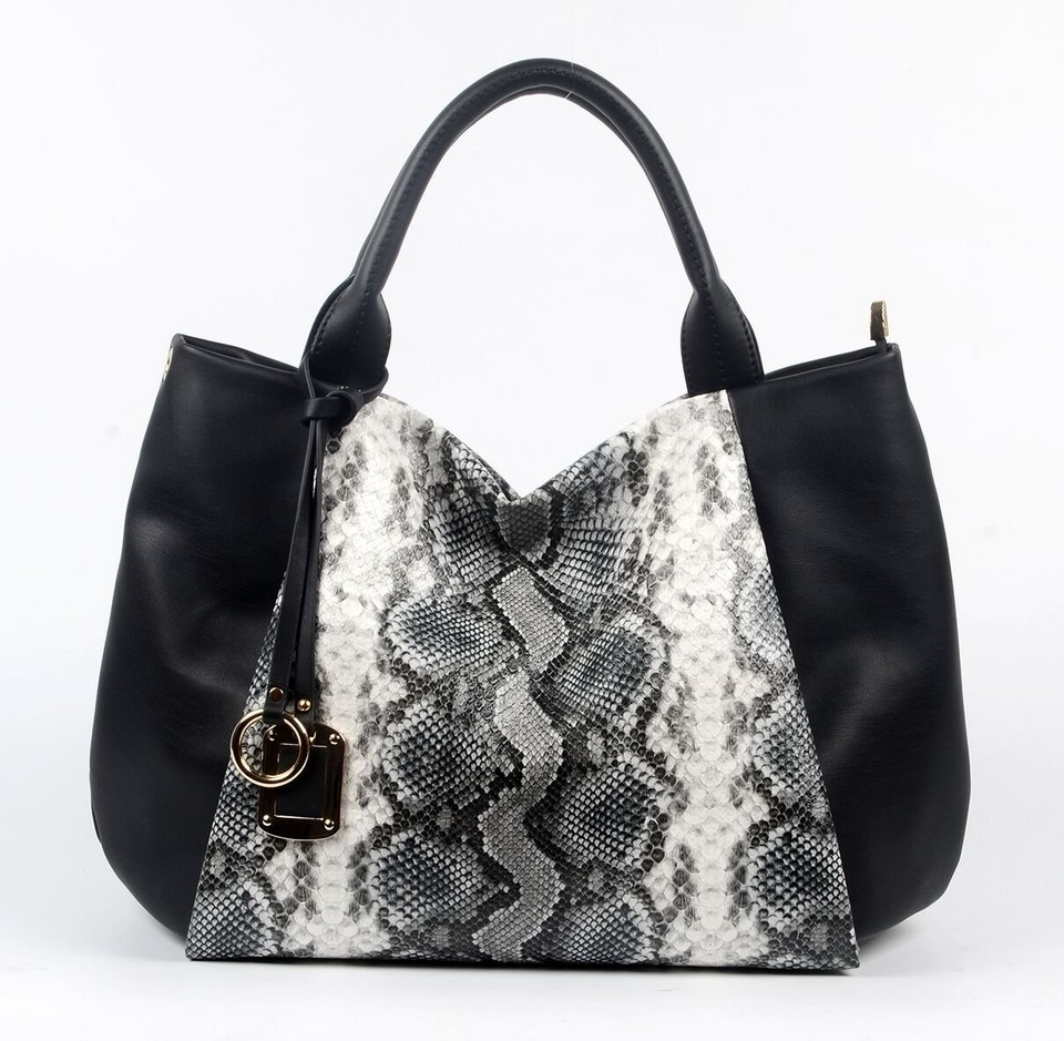 Black PU handbag with Snake pattern, Part decoration 6018C