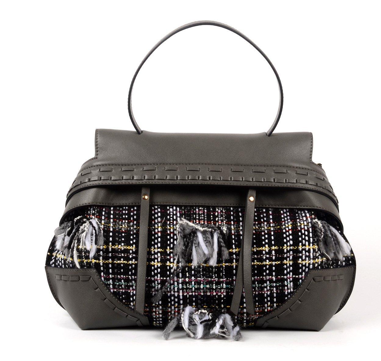 Deep Grey handbag with canvas 6032A