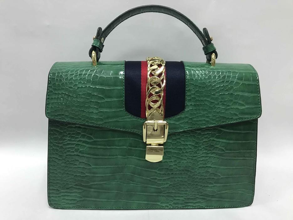 Green handbag with python pattern BE-4777