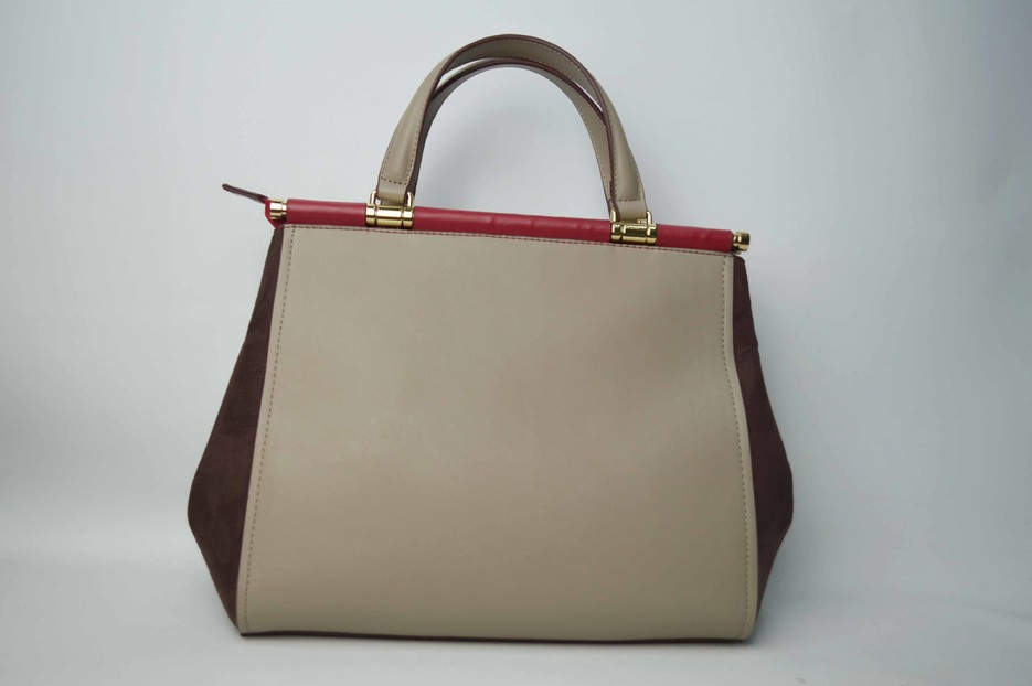 Dusty gray handbag with red decoration BE-4772