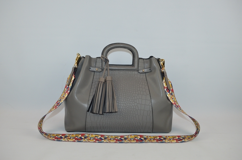Deep grey handbag with crocodile skin 1003