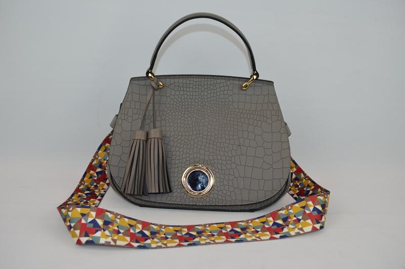 Deep grey handbag with crocodile skin 8846