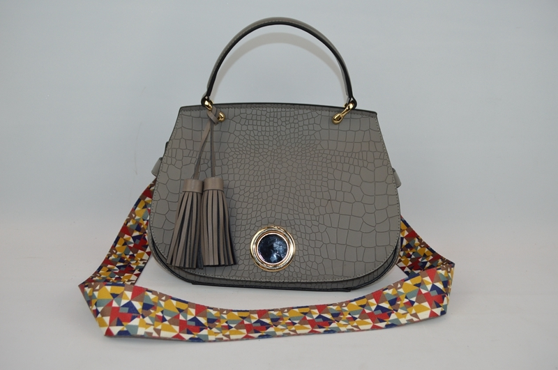Deep grey handbag with crocodile skin 8846