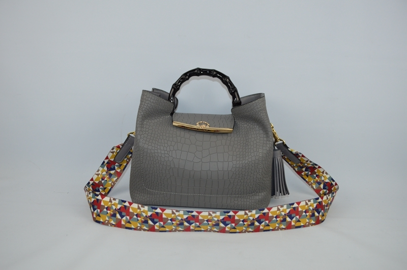 Deep grey handbag with crocodile skin 9003