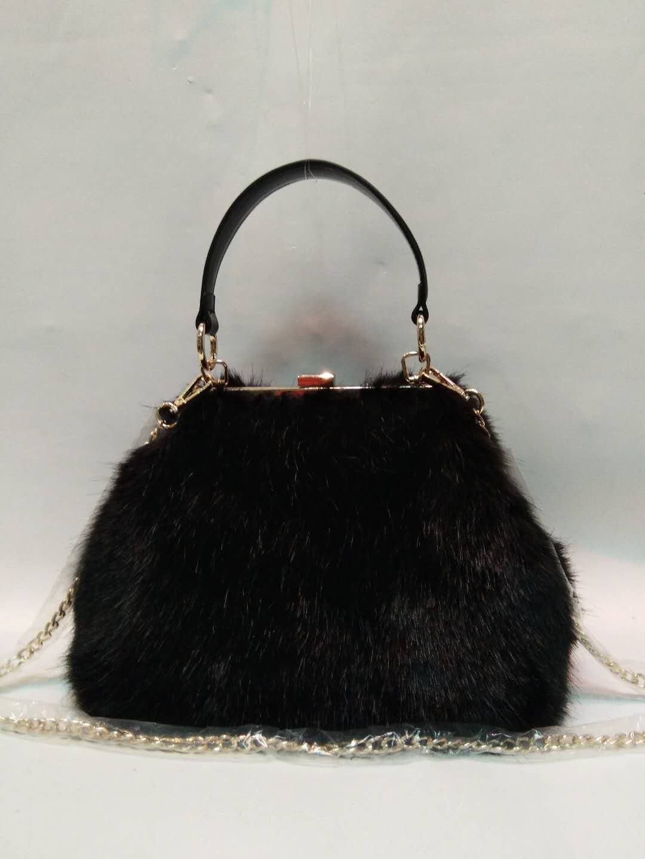 Black mink hair PU handbag 20180102