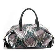 Deep green PU handbag with woven pattern 6037A