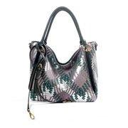 Deep green PU shoulder bag with woven pattern 6037B