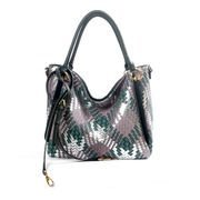 Deep green PU shoulder bag with woven pattern 6037B