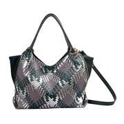 Deep green PU tote bag with woven pattern 6037C