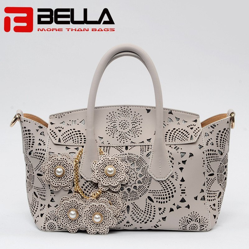 Light Gary PU Handbag with Detachble Flower Decoration 6019B
