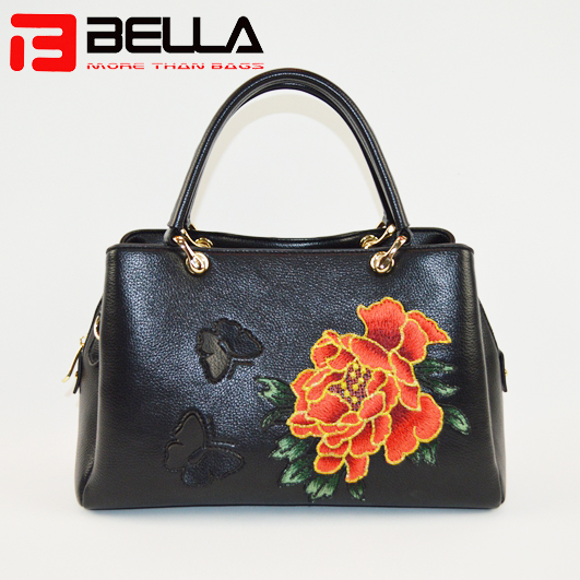 Black faux Leather satchel Bag with flower embroidery,group handbags6001A