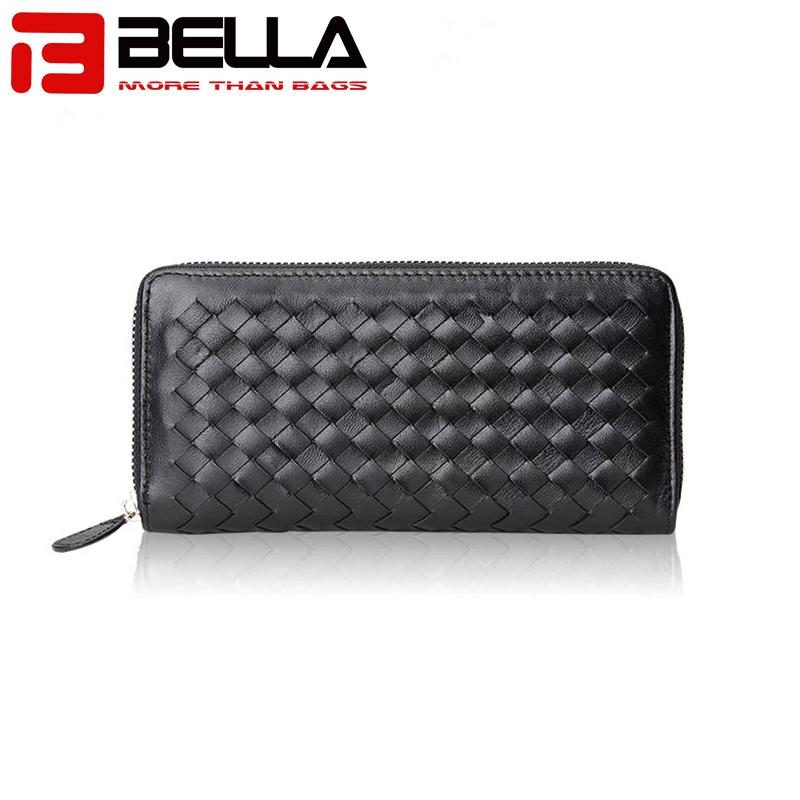genuine leather ladies wallet women purse woven walletBW013