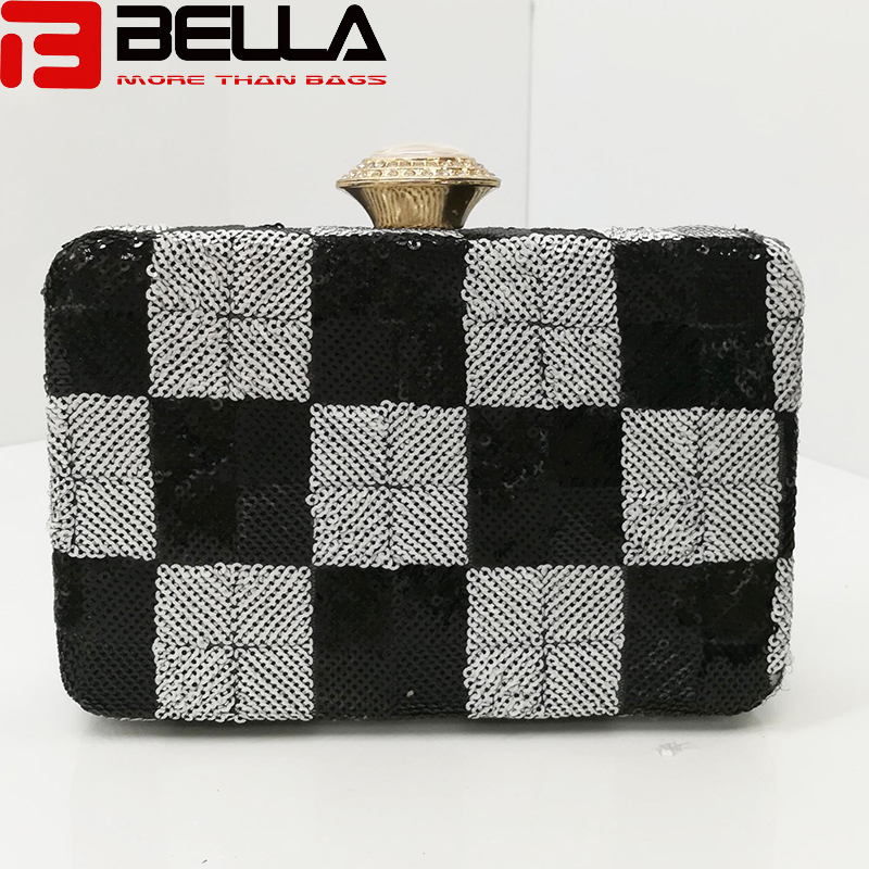fashion metal clutch bag ladies sequin bag for Wedding party evening bag BE002