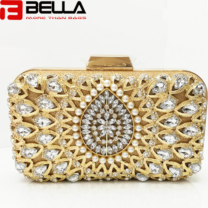 fashion box clutch bag ladies beading bag for Wedding party evening  bag manufaturer BE005