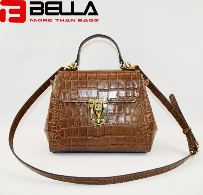 Hot sale leather crossbody  bag with  crocodile pattern