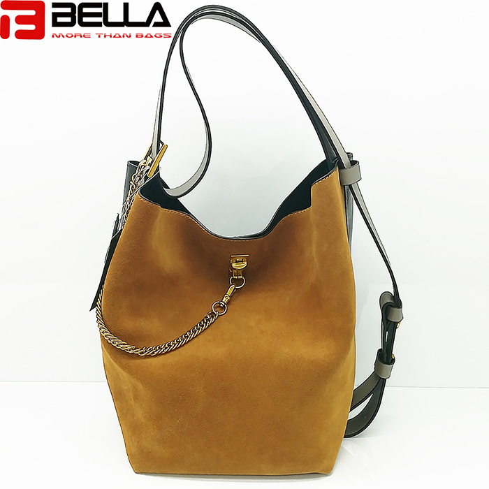 women Suede leather shoulder bag contrast color handbag Guangzhou china handbag factory HM193