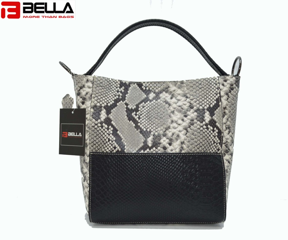 BLACK LEATHER BAG WITH PYTHON PATTERN DP1805
